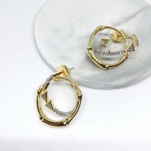 NWOT Alexis Bittar Crystal Gold Hoop Drop Earrings